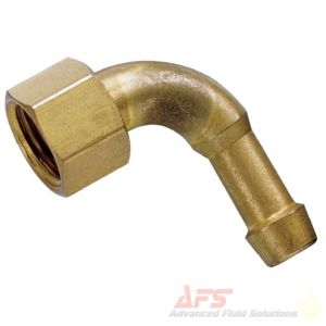 1/4 90 Degree Female BSP Swivel Nut x 3/8 (10mm) Hosetail BRASS Fitting